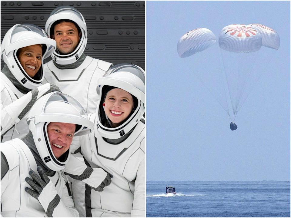 inspiration4 crew members in spacesuits side by side with image of parachutes lowering crew dragon spaceship into ocean splashdown