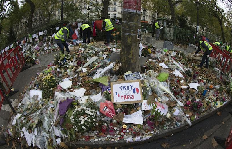 A makeshift memorial in front of the Bataclan concert hall which was among the targets of the deadly attacks in 2015 (AFP Photo/JOEL SAGET)