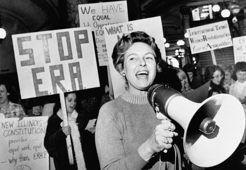 Stop ERA national Chairman Phyllis Schafly leads members opposed to the equal rights amendment in a song about the pro ERA forces plan for a national demonstration in the capital city.   Bettmann—Bettmann Archive