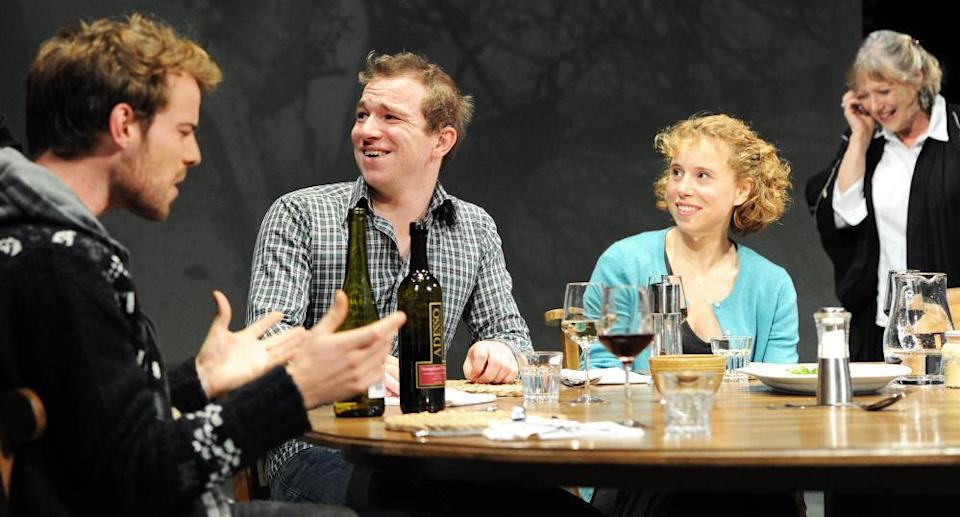 Harry Treadaway, Jacob Casselden, Michelle Terry and Kika Markham in Tribes by Nina Raineat the Royal Court, 2010, directed by Roger Michell.