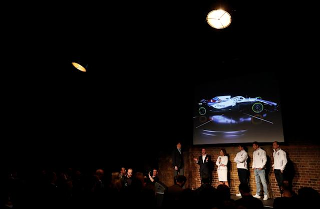 F1 Formula One - Williams Formula One Launch - London, Britain - February 15, 2018 Jake Humphrey, Williams' Chief Technical Officer Paddy Lowe, Deputy Team Principal Claire Williams, Driver Lance Stroll, Driver Sergey Sirotkin and Reserve and Development Driver Robert Kubica during the launch Action Images via Reuters/Paul Childs