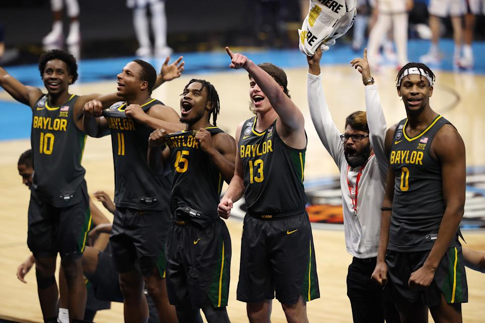 INDIANAPOLIS, INDIANA - APRIL 05:  (L-R) Adam Flagler #10, Mark Vital #11, Davion Mitchell #45, Jackson Moffatt #13 and Flo Thamba #0 of the Baylor Bears celebrate their win against the Gonzaga Bulldogs in the National Championship game of the 2021 NCAA Men's Basketball Tournament at Lucas Oil Stadium on April 05, 2021 in Indianapolis, Indiana. (Photo by Trevor Brown Jr/NCAA Photos via Getty Images)