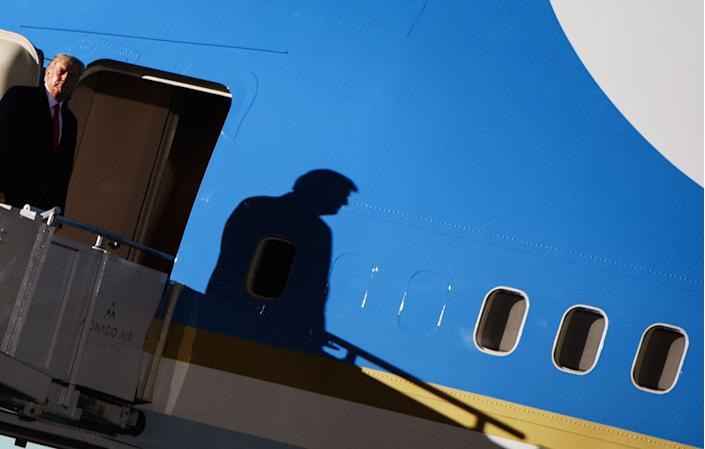US President Donald Trump arrives for a campaign rally at Duluth International Airport  in Duluth, Minnesota, for a campaign rally on September 30, 2020. - President Trump announced early on October 2, 2020, that he and First Lady Melania Trump would be going into quarantine after they were both found to have contracted the novel coronavirus. (Photo by MANDEL NGAN / AFP) (Photo by MANDEL NGAN/AFP via Getty Images)