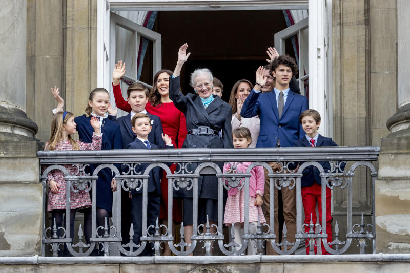 Queen Margrethe of Denmark, Crown Princess Mary of Denmark, Prince Christian of Denmark, Princess Isabella of Denmark, Prince Vincent of Denmark, Princess Josephine, Prince Joachim of Denmark, Princess Marie of Denmark, Prince Nikolai of Denmark, Prince Felix of Denmark, Prince Henrik of Denmark and Princess Athena of Denmark at the balcony of Amalienborg palace on April 16, 2018 in Copenhagen, Denmark. The Queen of Denmark celebrates her 78th birthday at the Palace.