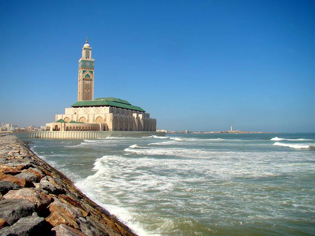 <b>CASABLANCA, MOROCCO:</b> The Hassan II Mosque is the seventh largest mosque in the world. Standing on a promontory of reclaimed land, looking out to the Atlantic Ocean, it can  accommodate 105,000 worshippers for prayer at a time. The architecture has strong Moorish influences and is similar to that of the Alhambra and the Great Mosque of Cordoba in Spain.