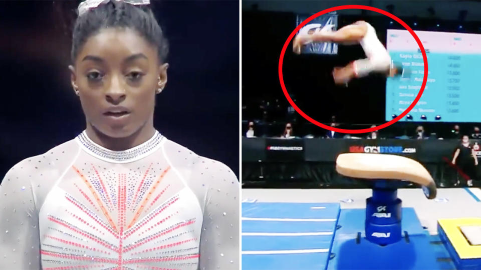 Simone Biles, pictured here landing a Yurchenko double pike in competition.