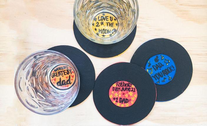 """<p>For the audiophile dads out there, this craft lets him know he's a hit! Plus, they're functional, doubling as coasters.</p><p><a href=""""https://www.craftprojectideas.com/fathers-day-upcycled-record-coasters/"""" rel=""""nofollow noopener"""" target=""""_blank"""" data-ylk=""""slk:Get the tutorial at Craft Project Ideas »"""" class=""""link rapid-noclick-resp""""><em>Get the tutorial at Craft Project Ideas »</em></a></p><p><strong>RELATED: </strong><a href=""""https://www.goodhousekeeping.com/holidays/fathers-day/g336/fathers-day-gift-guide/"""" rel=""""nofollow noopener"""" target=""""_blank"""" data-ylk=""""slk:Unique Father's Day Gift Ideas for Every Type of Dad"""" class=""""link rapid-noclick-resp"""">Unique Father's Day Gift Ideas for Every Type of Dad</a></p>"""