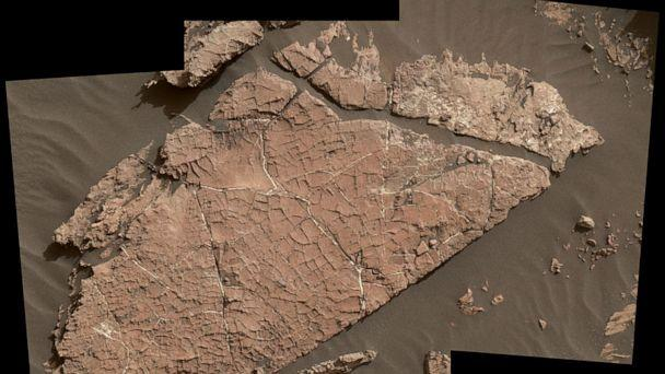 PHOTO: The network of cracks in this Martian rock slab called 'Old Soaker' may have formed from the drying of a mud layer more than 3 billion years ago. (NASA/JPL-Caltech/MSSS)