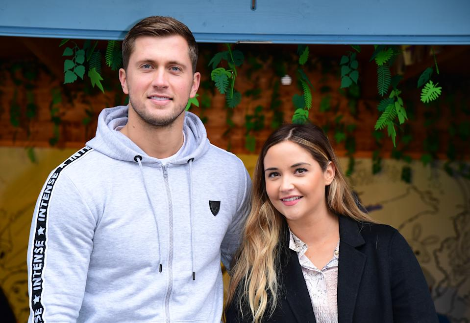Dan Osborne and Jacqueline Jossa with Teddy and Ella arriving to attend the release of the new film Wonder Park at Chessington World of Adventure in Chessington, Kingston upon Thames.