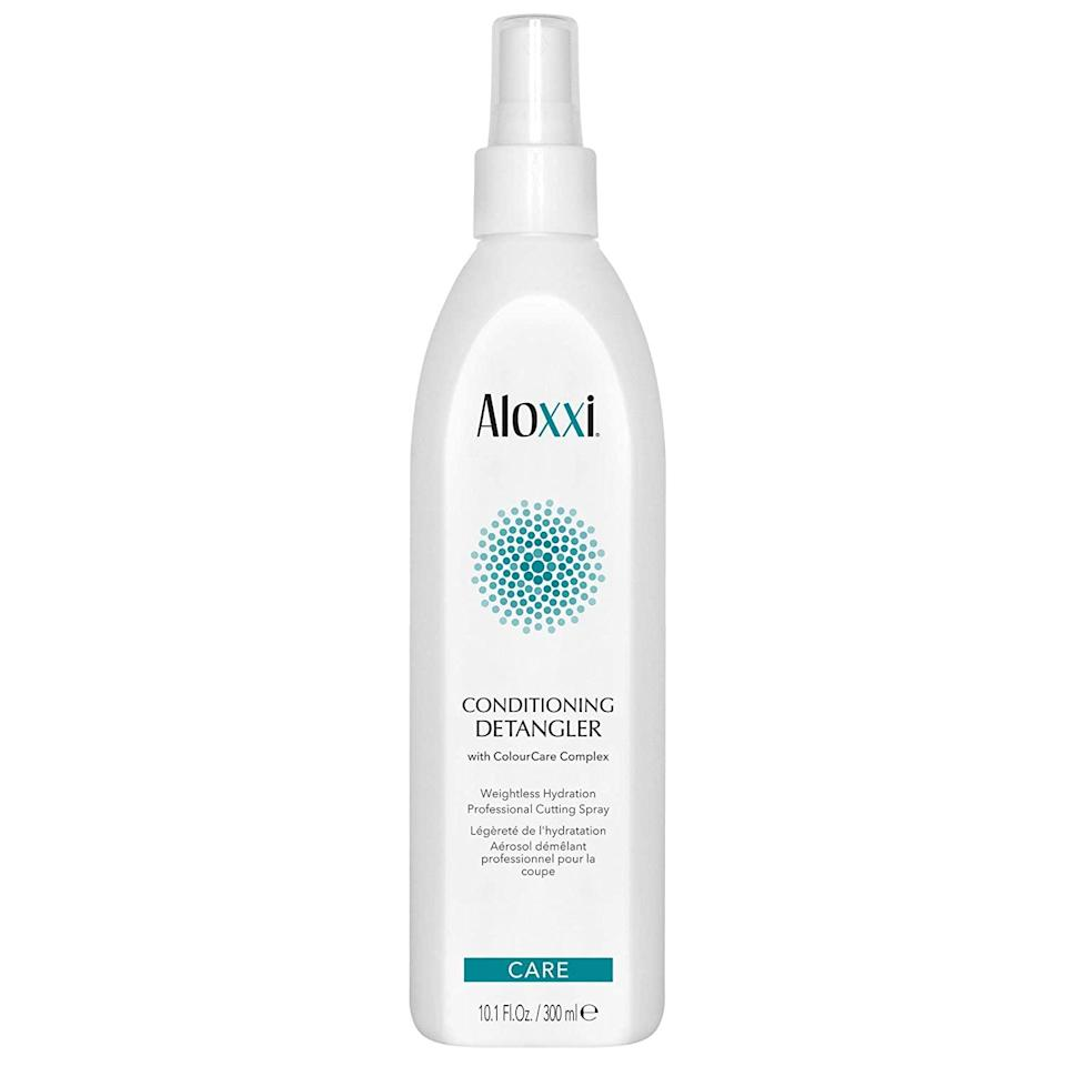 """Have 2B to 3B curls? This Aloxxi Conditioning Detangler comes infused with moisturizing olive and grape seed oils, which provide intense hydration with zero added weight. Vitamin B5 in the treatment also moisturizes, prevents hair color from fading, and levels up the shine factor. What's more, the <a href=""""https://www.allure.com/gallery/best-leave-in-hair-conditioners?mbid=synd_yahoo_rss"""" rel=""""nofollow noopener"""" target=""""_blank"""" data-ylk=""""slk:leave-in conditioner"""" class=""""link rapid-noclick-resp"""">leave-in conditioner</a> blocks against damaging UV rays. Spray on damp or dry hair, and rake fingers through to tame curls. Then, scrunch and air-dry your hair for the best results."""