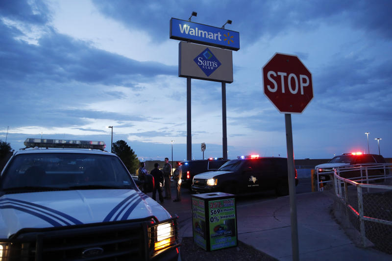 In El Paso the gunman went on a rampage through a crowded Walmart store before eventually surrendering to police. (AP)