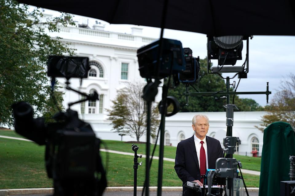 WASHINGTON, DC - OCTOBER 08: White House National Trade Council Director Peter Navarro is interviewed by Fox Business Network outside the White House October 08, 2019 in Washington, DC. Navarro will be taking a lead role in trade negotiations with the Chinese that are scheduled to begin this week. (Photo by Chip Somodevilla/Getty Images)