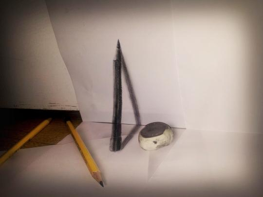 """<b>Pencil:</b> He utilizes simple figures, such as a pencil propped against a wall, to challenge the viewer's imagination. <br> <br> <a href=""""http://www.jjkairbrush.nl/home/"""" rel=""""nofollow noopener"""" target=""""_blank"""" data-ylk=""""slk:(Courtesy of Ramon Bruin)"""" class=""""link rapid-noclick-resp"""">(Courtesy of Ramon Bruin)</a>"""