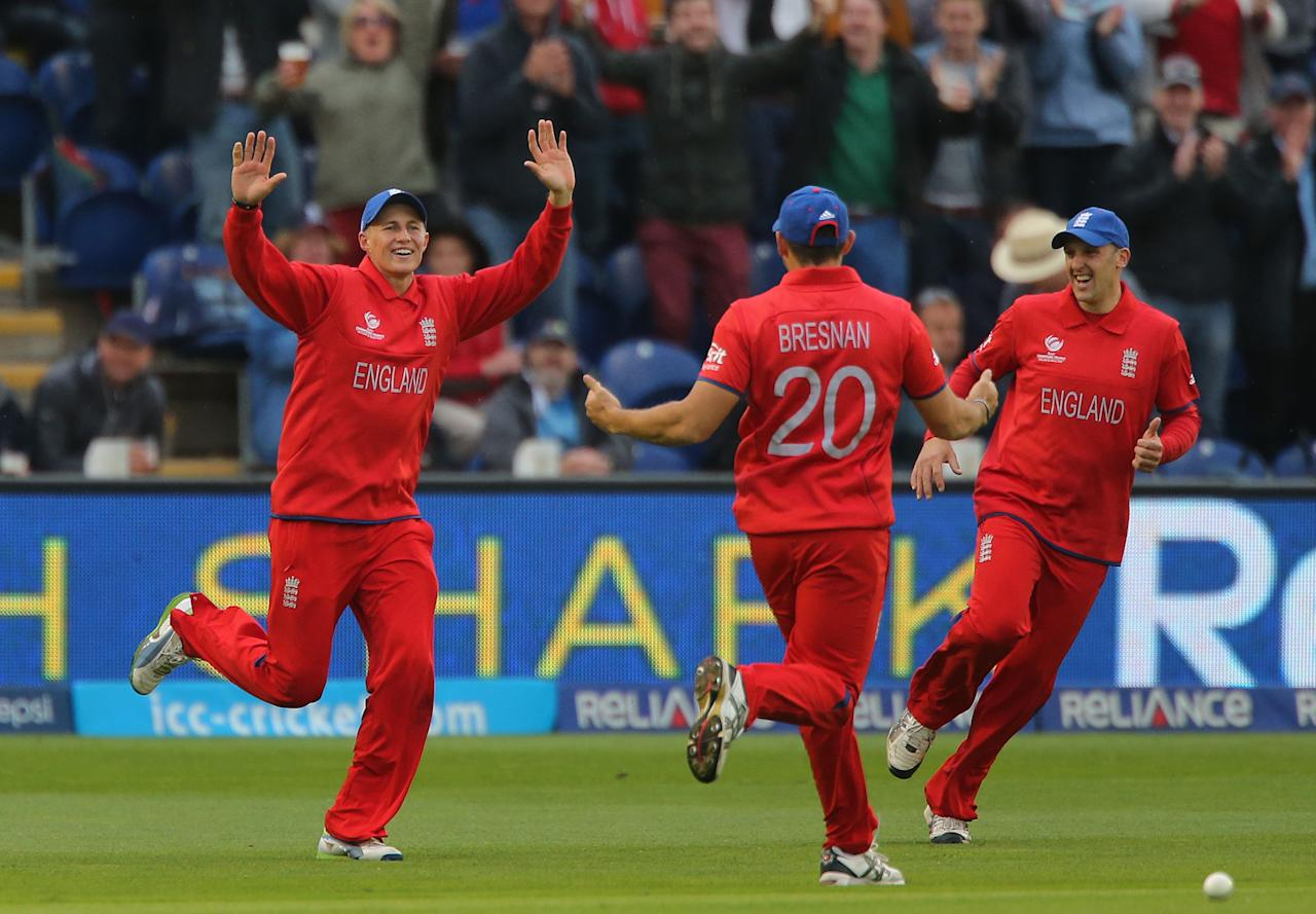 England's Joe Root celebrates catching New Zealand batsman Brendon McCullum during the ICC Champions Trophy match at the SWALEC Stadium, Cardiff.