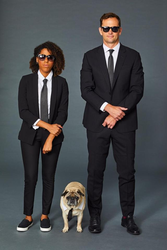 "<p>To recreate the iconic movie look, all you need are suits, ties, and sunglasses! This costume idea is so easy and cool, your partner will have no problem dressing up. </p><p><a class=""body-btn-link"" href=""https://www.amazon.com/Handmade-Black-Ties-Skinny-Woven/dp/B079GGRBT4/?tag=syn-yahoo-20&ascsubtag=%5Bartid%7C10055.g.2625%5Bsrc%7Cyahoo-us"" target=""_blank""><strong>SHOP BLACK TIES</strong></a></p>"