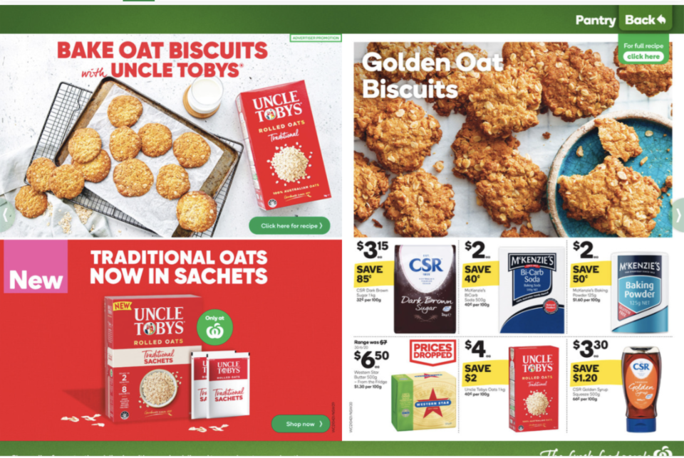 The Golden Oat Biscuits recipe as featured in the online version of the Woolworths catalogue.