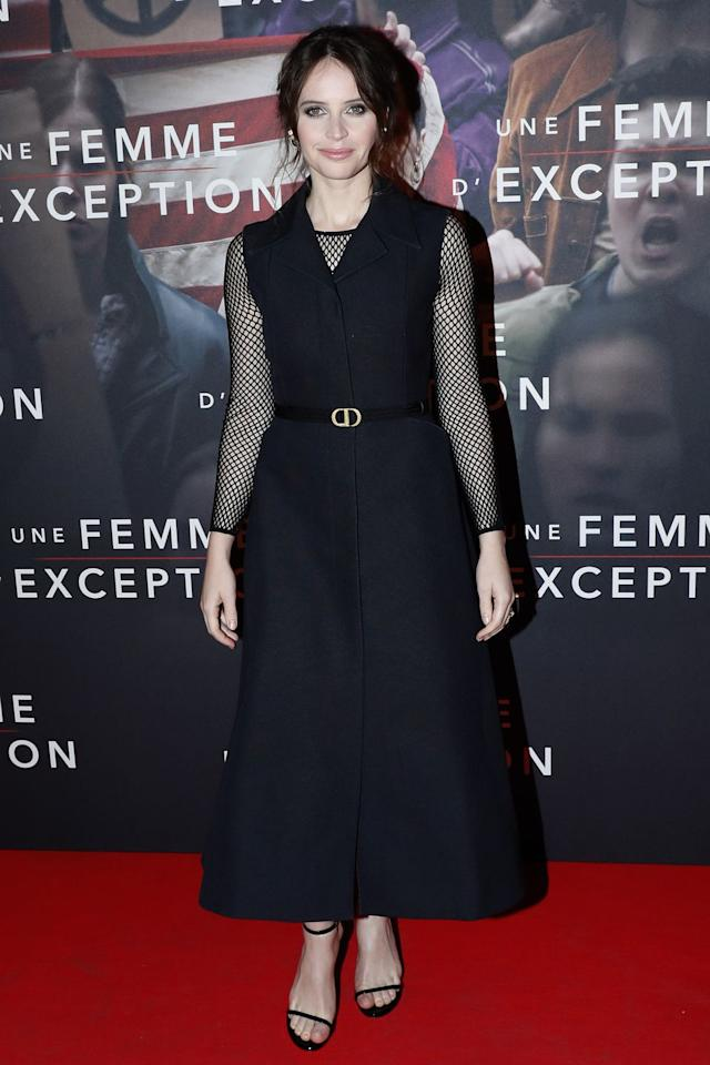 <p><strong>4 December </strong>Felicity Jones chose Dior for the Paris premiere of <em>On the Basis of Sex.</em><strong></strong></p>