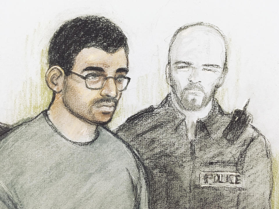 Hashem Abedi in the dock following his extradition from Libya. (Elizabeth Cook/PA via AP)