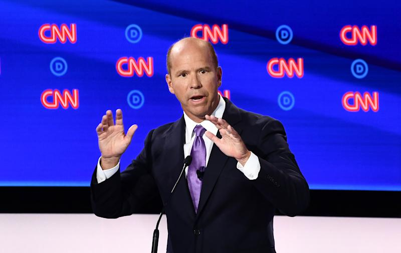 Democratic presidential hopeful former US Representative for Maryland's 6th congressional district John Delaney participate in the first round of the second Democratic primary debate of the 2020 presidential campaign season hosted by CNN at the Fox Theatre in Detroit, Michigan on July 30, 2019. (Photo by Brendan Smialowski / AFP) / ALTERNATIVE CROP (Photo credit should read BRENDAN SMIALOWSKI/AFP/Getty Images)