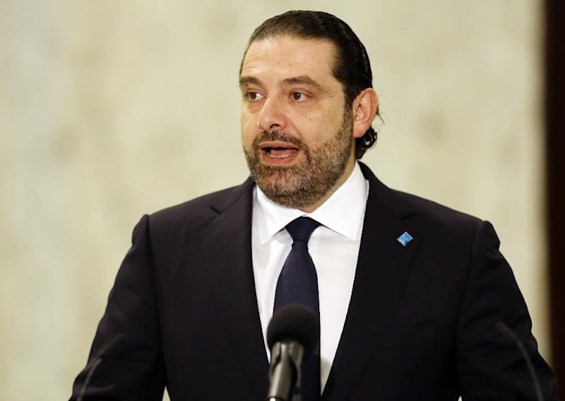 This file picture shows Lebanese prime minister Saad Hariri speaking to journalists on November 03, 2016