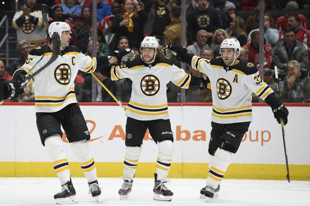 Boston Bruins right wing David Pastrnak (88) celebrates his goal with center Patrice Bergeron (37) and defenseman Zdeno Chara (33) during the first period of an NHL hockey game against the Washington Capitals, Wednesday, Dec. 11, 2019, in Washington. (AP Photo/Nick Wass)