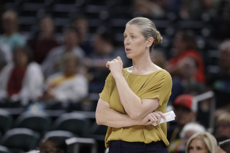 New York Liberty head coach Katie Smith watches during the second half of a WNBA basketball game against the Indiana Fever, Tuesday, Aug. 20, 2019, in Indianapolis. (AP Photo/Darron Cummings)