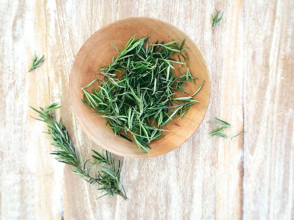 """<p>""""Relieve dermatitis or <strong>dandruff</strong> with 1 Tbsp dried rosemary per 1 cup of boiled water. Steep 1 minute, add 5 drops tea tree oil, then let cool slightly. Massage into hair, leave in for a few minutes, and rinse out. Repeat a few times a week after using shampoo and conditioner."""" </p><p><em>—Kristina Connor, N.D., professor at the National University of Health Sciences</em></p>"""