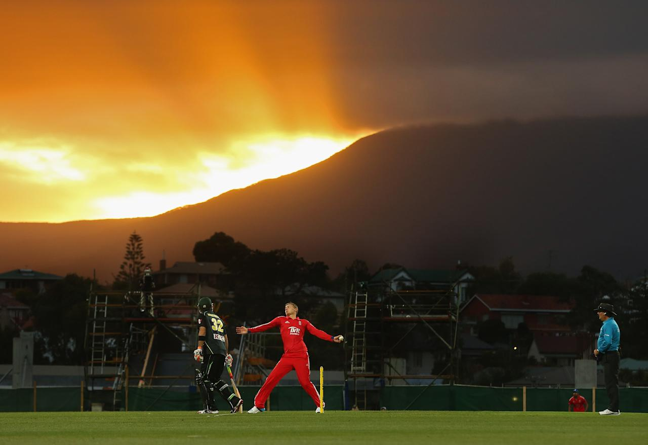 HOBART, AUSTRALIA - JANUARY 29:  Danny Briggs of England bowls during game one of the International Twenty20 series between Australia and England at Blundstone Arena on January 29, 2014 in Hobart, Australia.  (Photo by Scott Barbour/Getty Images)