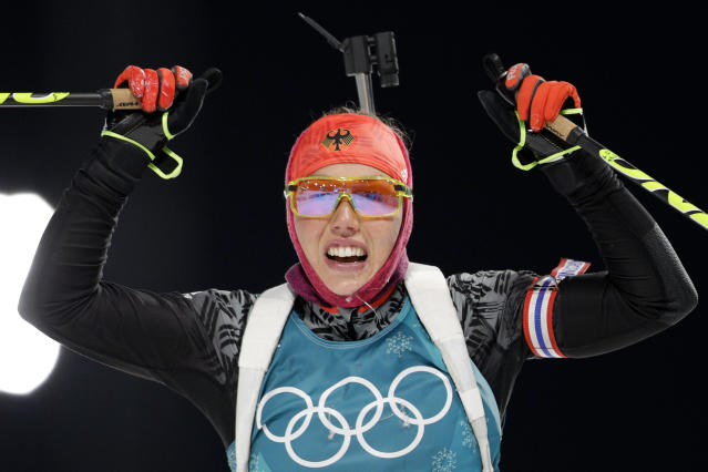<p>Laura Dahlmeier (pictured) of Germany won the gold medal in the women's 7.5km biathlon sprint. Marte Olsbu from Sweden took home the silver and the Czech Republic's Veronika Vitkova won bronze. </p>