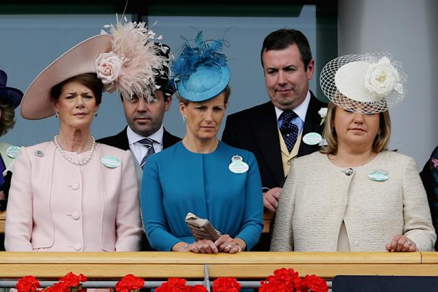 ASCOT, ENGLAND - JUNE 18: Sophie, Countess of Wessex (C) attends day one of Royal Ascot at Ascot Racecourse on June 18, 2013 in Ascot, England. (Photo by Chris Jackson/Getty Images for Ascot Racecourse)