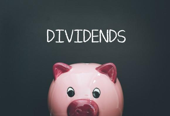 A pink piggybank with the word dividends above it