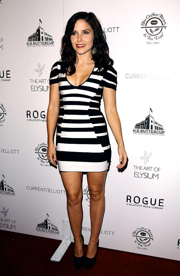 "Back on the West Coast, ""One Tree Hill's"" Sophia Bush stuffed herself into a sexy striped Herve Leger bandage dress from the designer's 2010 Resort collection for an appearance at the Art of Elysium's Genesis event. Jason LaVeris/<a href=""http://www.filmmagic.com/"" target=""new"">FilmMagic.com</a> - October 10, 2009"