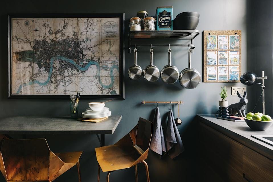Heart of the home: Blu Dot's copper bar stools provide a high-end vibe to the Ikea kitchen (Mark Anthony Fox)