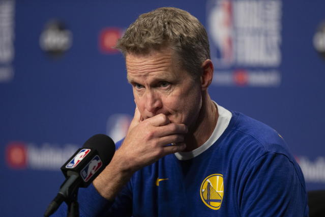 Warriors coach Steve Kerr called out Donald Trump on social media on Sunday after he sent a string of racist tweets directed at minority congresswomen. (Chris Young/AP)