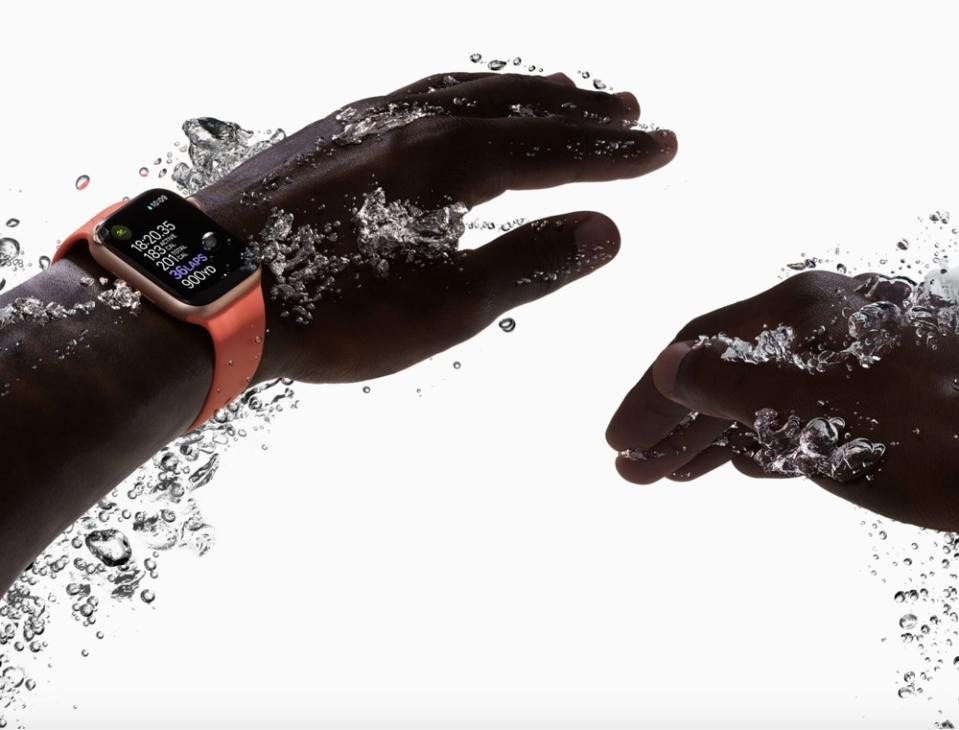 The Apple Watch can function in water as deep as 150 feet, even in the ocean. (Image: Apple)