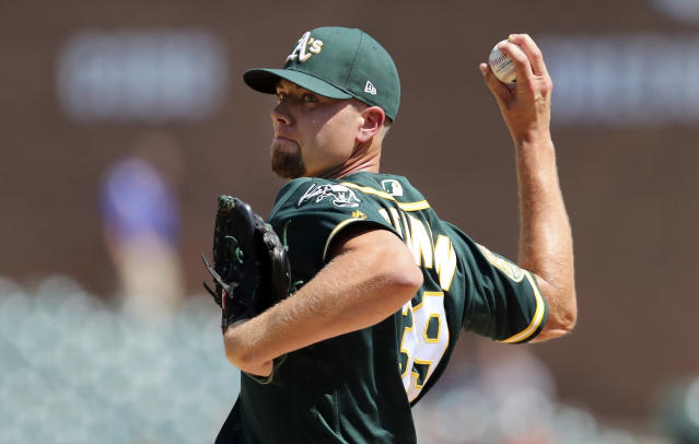 FILE - In this June 28, 2018, file photo, Oakland Athletics relief pitcher Blake Treinen throws during the ninth inning of a baseball game against the Detroit Tigers in Detroit. Treinen's case was heard Friday, Feb. 1, 2019, asking arbitrators for a raise from $2.2 million to $6.4 million and was offered $5.6 million. (AP Photo/Carlos Osorio, File)