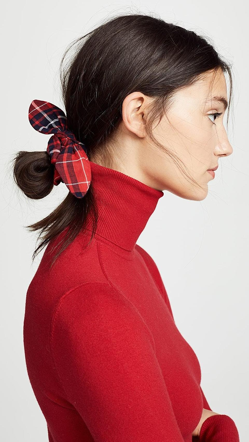 <p>How cute is this <span>Namjosh Red Plaid Scrunchie</span> ($16)? It's perfect for fall.</p>