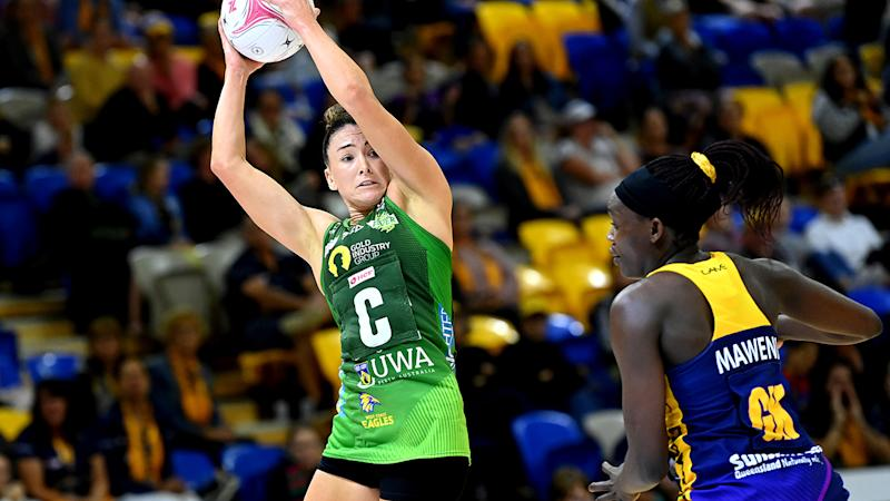 Verity Charles, pictured here catching the ball against Sunshine Coast Lightning.