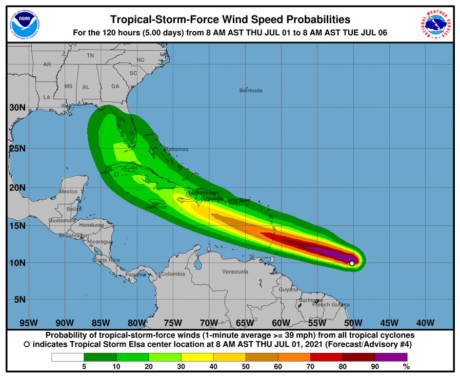 Weather map titled Tropical-Storm-Force Wind Speed Probabilities showing Tropical Storm Elsa over Florida and the Caribbean
