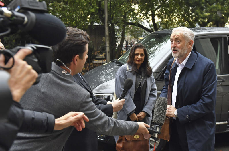 Britain's main opposition Labour Party leader Jeremy Corbyn arrives for major party meeting to finalise the manifesto details that will form Labour Party policy for the upcoming General Election in London, Saturday Nov. 16, 2019. Britain's Brexit is one of the main issues for voters and political parties as the UK goes to the polls in a General Election on Dec. 12. (Dominc Lipinski/PA via AP)