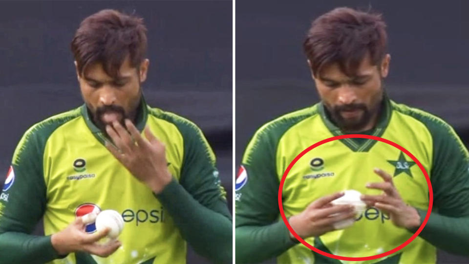 Mohammad Amir (pictured) allegedly putting saliva on his fingers and then onto the cricket ball.