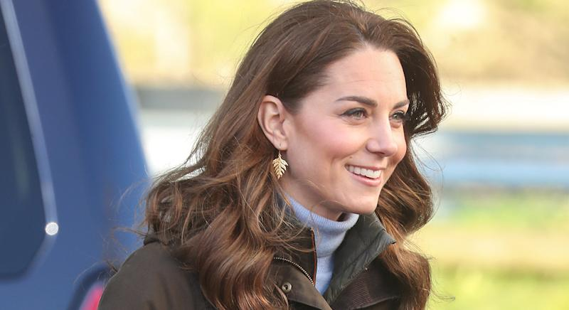 Kate Middleton wears Catherine Zoraida Gold Fern Drop earrings on her UK tour, but we have found a more affordable version. (Getty images)