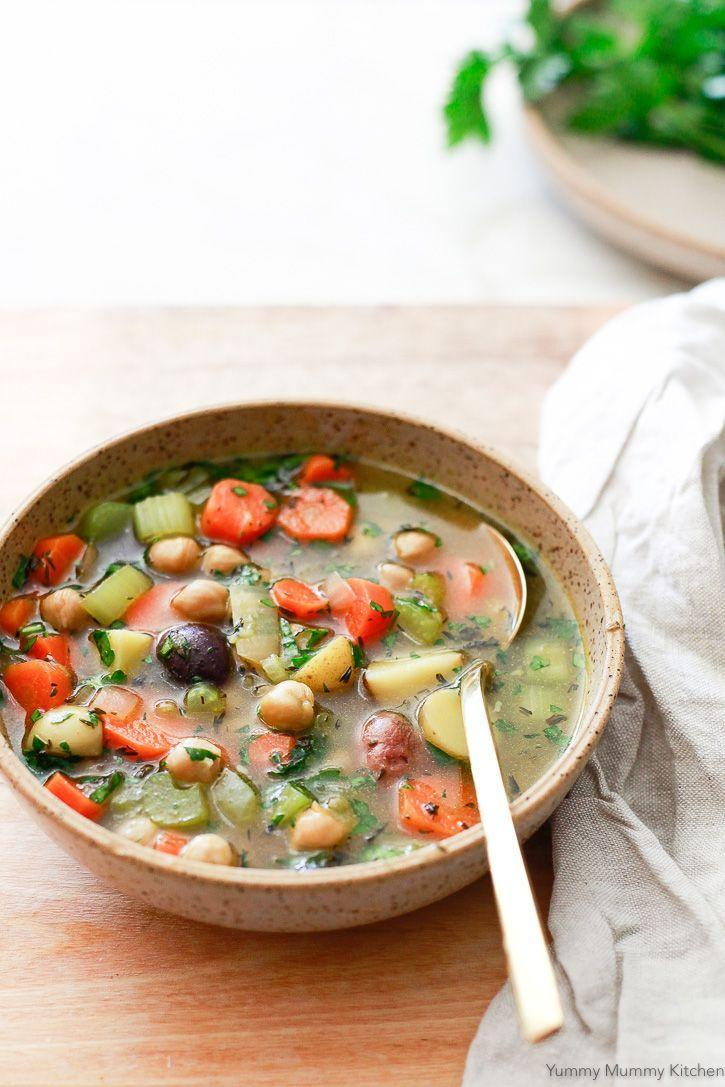 """<p>Chickpea Vegetable Soup > Chicken Vegetable Soup</p><p>Get the recipe from <a href=""""https://www.yummymummykitchen.com/2018/02/chickpea-vegetable-soup.html"""" rel=""""nofollow noopener"""" target=""""_blank"""" data-ylk=""""slk:Yummy Yummy Kitchen"""" class=""""link rapid-noclick-resp"""">Yummy Yummy Kitchen</a>.</p>"""
