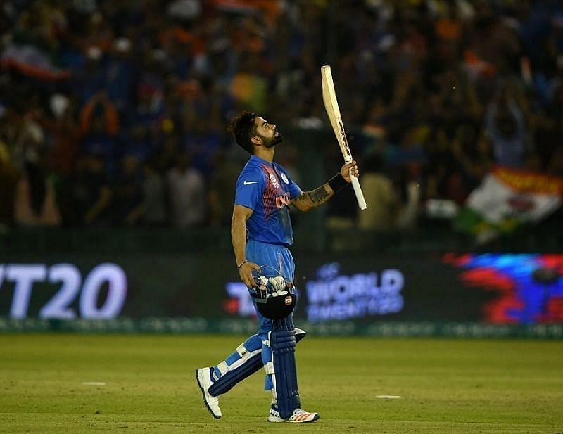 Virat Kohli scored an unbeaten 81 in the World T20 encounter against Australia at Mohali