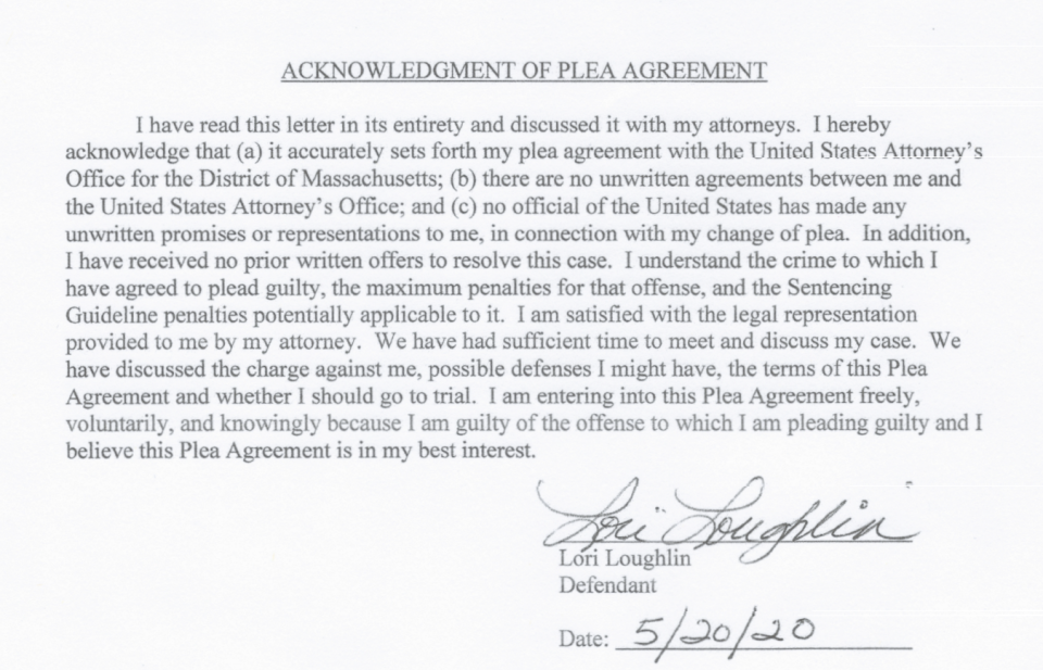Lori Loughlin's signature on the plea agreement. (Screenshot: justice.gov/usao-ma)