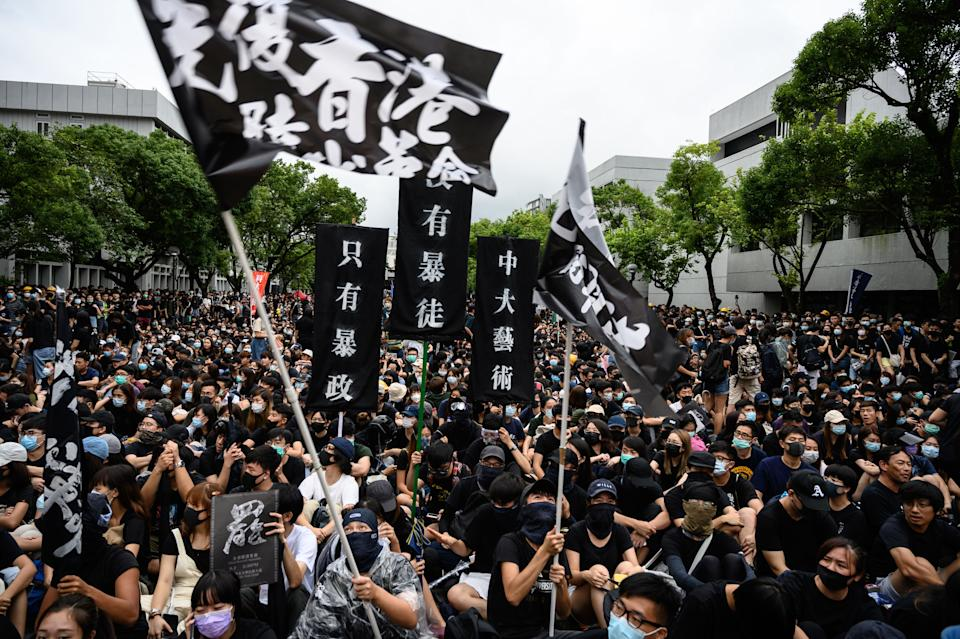 Students attend a school boycott rally at the Chinese University of Hong Kong on September 2, 2019, in the latest opposition to a planned extradition law that has since morphed into a wider call for democratic rights in the semi-autonomous city. - The global financial hub is in the grip of an unprecedented crisis as a largely leaderless movement has drawn millions on to the streets to protest against what they see as an erosion of freedoms and increasing interference in their affairs by Beijing. (Photo by Philip FONG / AFP)        (Photo credit should read PHILIP FONG/AFP/Getty Images)
