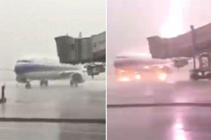 L: Moments before the lightning strike hit. R: Lightning hits the plane at the Chinese international airport. Photos: CCTV News.