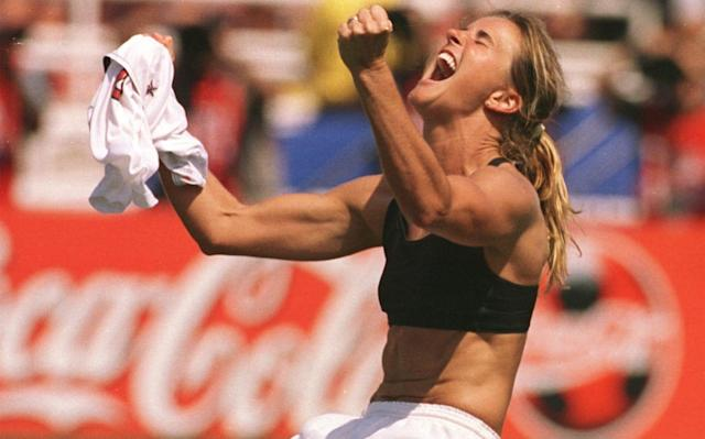 Brandi Chastain's celebration in 1999 saw the world first train its eyes on a female footballer exposing her bra - AP
