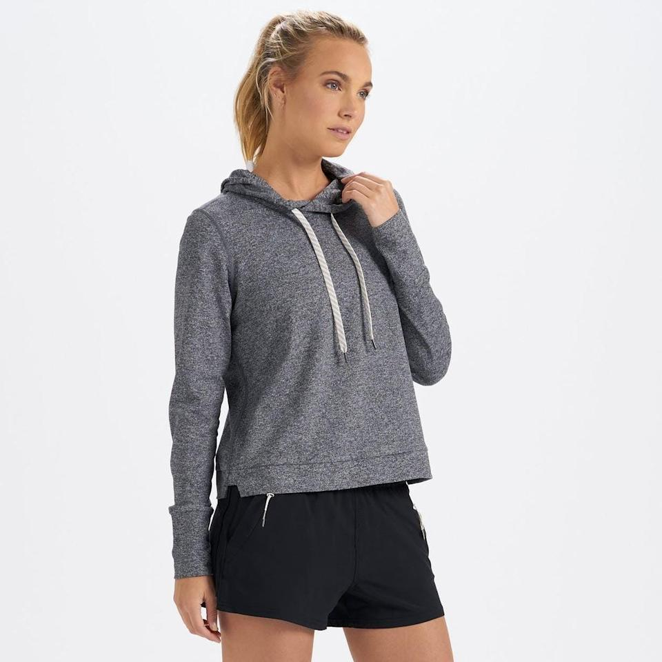 <p>Because the set won't be complete without a top, get the <span>Vuori Halo Essential Hoodie </span> ($84). You won't believe how silky soft it is.</p>