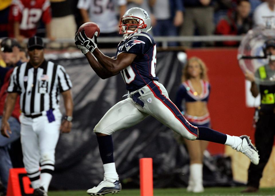 Former Patriots wide receiver David Patten caught Tom Brady's first postseason TD in the Super Bowl 36 victory over the Rams.